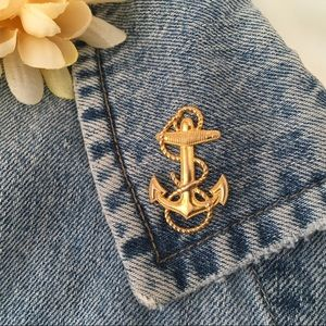 Anchor with Rope Sterling Gold Plated Pin Vintage